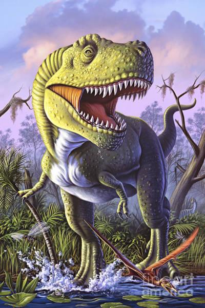 Marsh Bird Digital Art - A Tyrannosaurus Rex Crashes by Jerry LoFaro