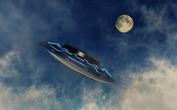 Ufology Photograph - A Ufo Flying Amongst The Clouds by Mark Stevenson