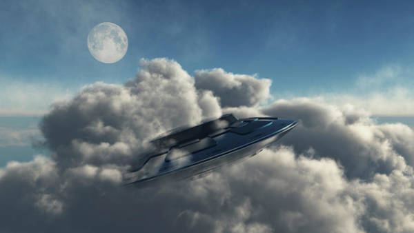 Ufology Photograph - A Ufo Hiding In A Dense Cloud Formation by Mark Stevenson