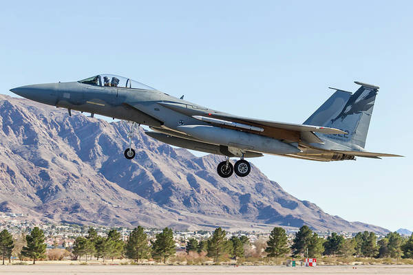 Flying The Flag Wall Art - Photograph - A U.s. Air Force F-15c Eagle On Final by Rob Edgcumbe