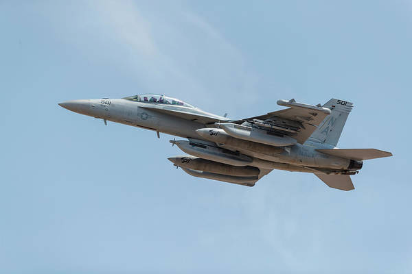 Flying The Flag Wall Art - Photograph - A U.s. Navy Ea-18g Growler Takes by Rob Edgcumbe