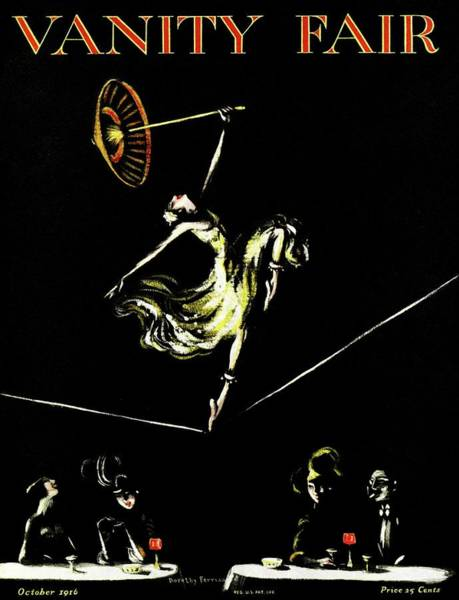 A Vanity Fair Cover Of A Woman Tightrope Walking Art Print by Artist Unknown