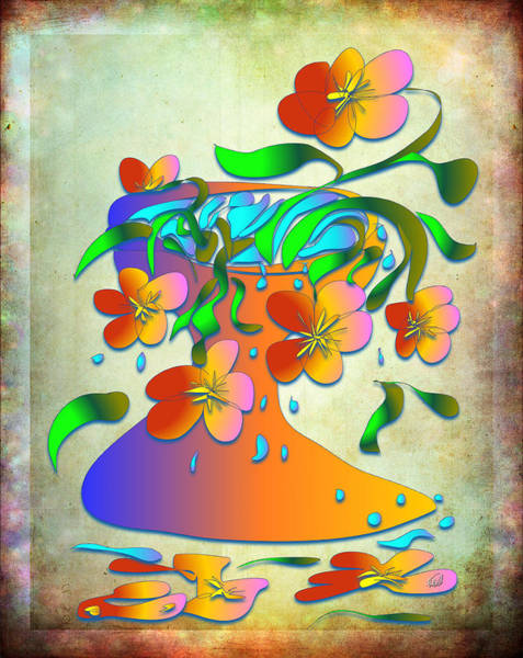 Overflow Painting - A Vase Of Flowers by Angela Stanton