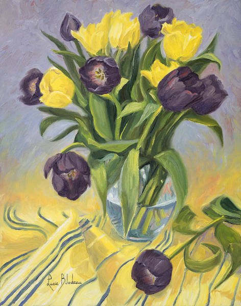 Painting - A Vase Of Tulips by Lucie Bilodeau