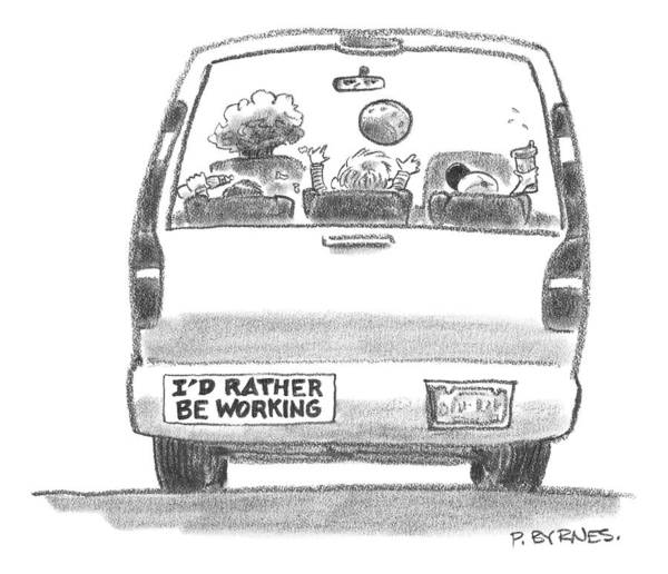 Fishing Drawing - A Vehicle With Many Children Inside Is Seen by Pat Byrnes