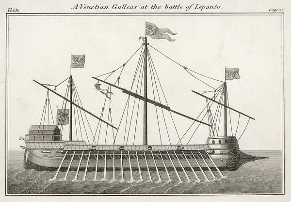 Wall Art - Drawing - A Venetian Galley (galleas) by Mary Evans Picture Library