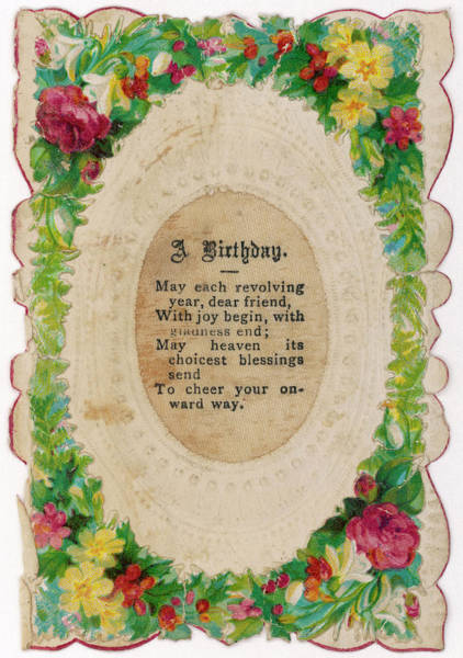 Wall Art - Drawing - A Victorian Birthday Card With  A Poem by Mary Evans Picture Library
