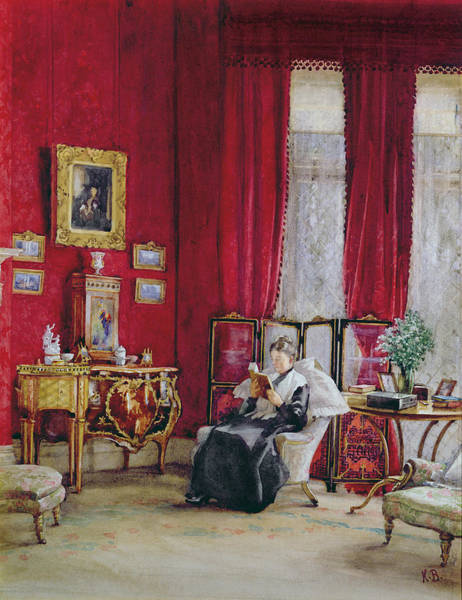Screen Painting - A Victorian Interior With A Lady Reading by English School