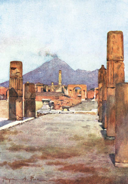 Wall Art - Drawing - A View Across Pompeii by Mary Evans Picture Library