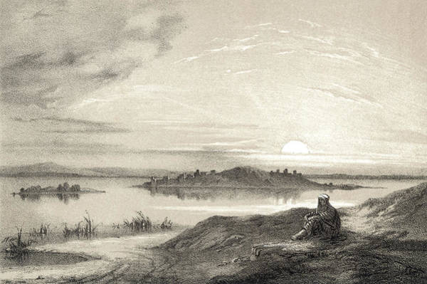 Deposit Drawing - A View Across The Lake And  Island by Mary Evans Picture Library