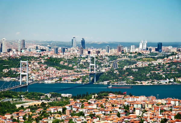 Bosphorus Bridge Photograph - A View From Camlica Hill Towards Istanbul And The Bosphorus Brid by Leyla Ismet