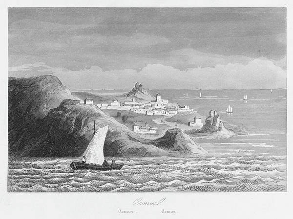 Persian Gulf Drawing - A View From The Sea Of Hormuz, Iran -- by Mary Evans Picture Library