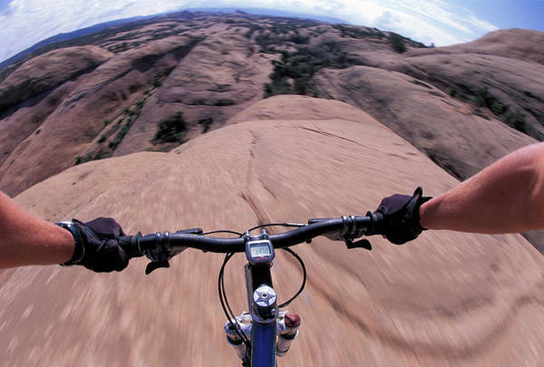 It Professional Photograph - A View Of A Female Mountain Bikers by Corey Rich