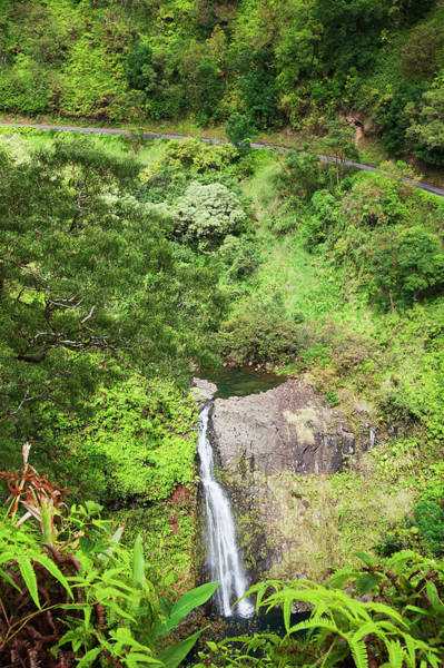 Maui Photograph - A View Of A Waterfall Below The Road To by Jenna Szerlag / Design Pics
