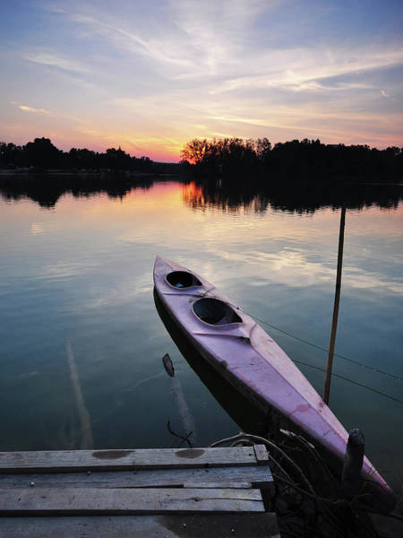 Canoe Photograph - A View Of Canoe At Sunset by By Zawawiisa