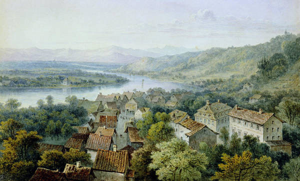 River Drawing - A View Of Karlsruhe by Thomas Sidney Cooper