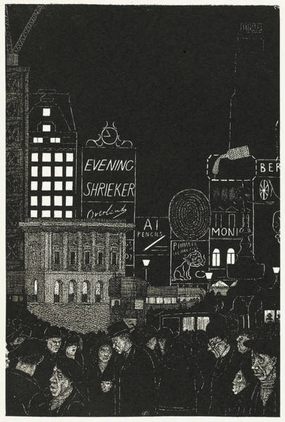 Miserable Drawing - A View Of Piccadilly Circus At Night by Mary Evans Picture Library