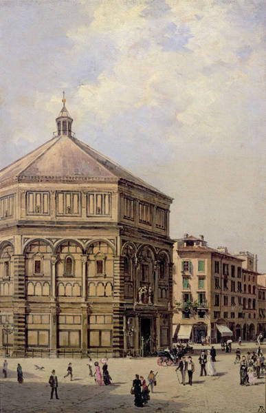 Wall Art - Painting - A View Of The Baptistry In Florence by Antonietta Brandeis