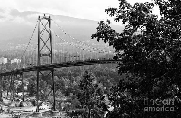 Wall Art - Photograph - A View Of The Lions Gate Bridge Mono by John Rizzuto