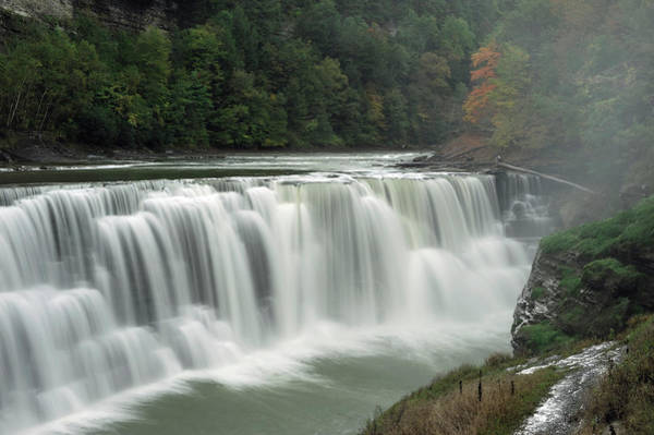 Letchworth Photograph - A View Of The Lower Falls At Letchworth by Christian Heeb