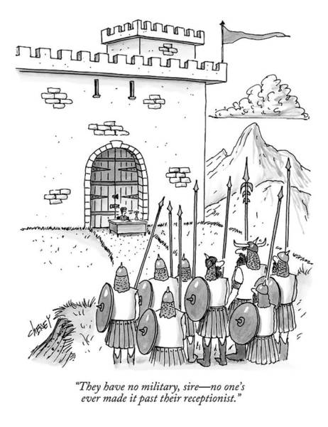 Drawing - A Viking Army Stands Before A Castle Gate Where by Tom Cheney