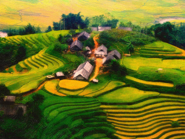 Vietnamese Painting - A Village In Vietnam by MotionAge Designs