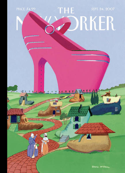 Pink Painting - A Village Of Old Shoe And Boot Homes Is Dwarfed by Bruce McCall