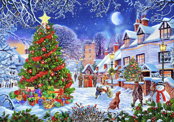 Wall Art - Painting - A Village Xmas Tree by MGL Meiklejohn Graphics Licensing