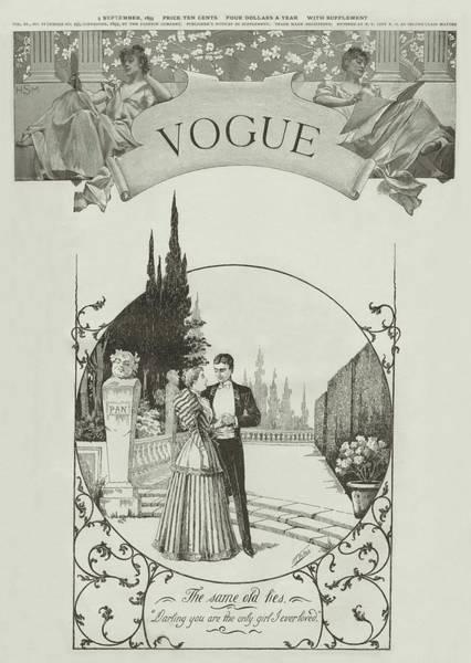 Love Photograph - A Vintage Vogue Magazine Cover Of A Couple by Harry McVickar