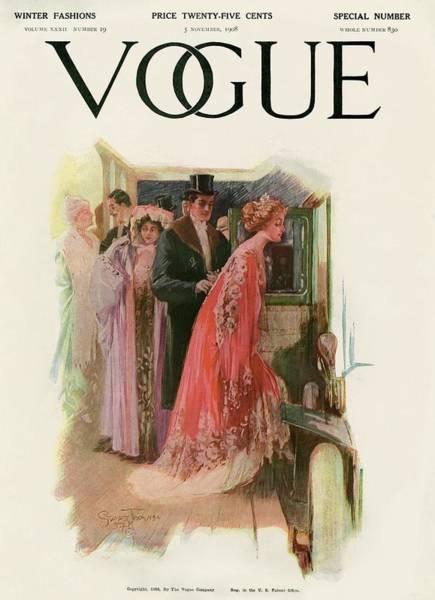 Taxi Photograph - A Vintage Vogue Magazine Cover Of A Couple by Stuart Travis