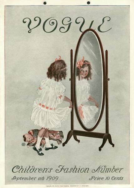 Mirror Photograph - A Vintage Vogue Magazine Cover Of A Girl Smiling by Artist Unknown