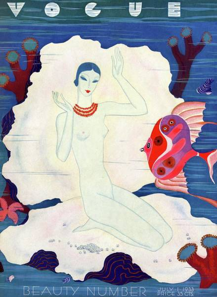 Underwater Photograph - A Vintage Vogue Magazine Cover Of A Naked Woman by Eduardo Garcia Benito