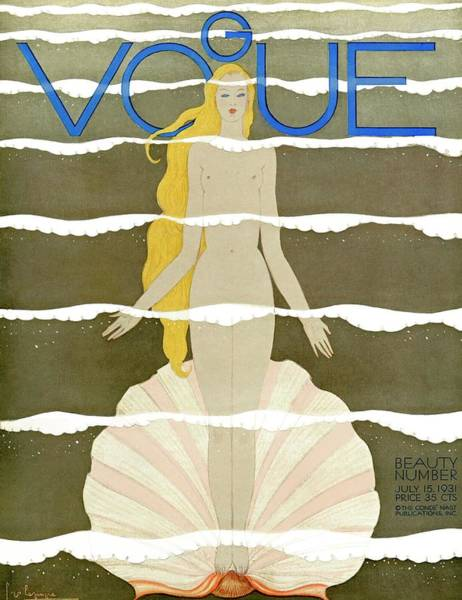 Water Photograph - A Vintage Vogue Magazine Cover Of A Naked Woman by Georges Lepape