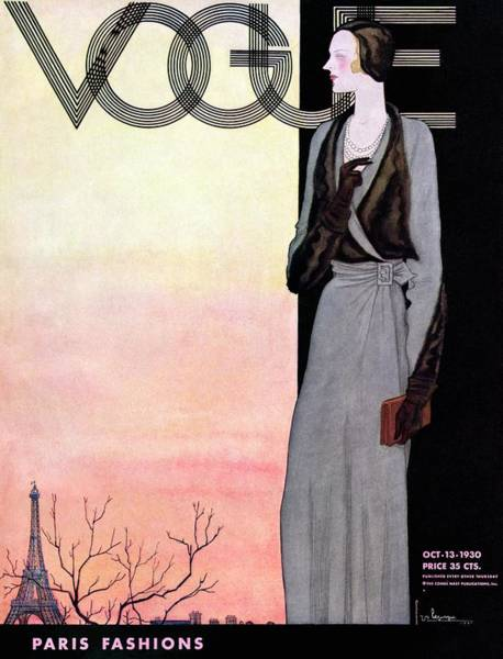 Urban Scene Photograph - A Vintage Vogue Magazine Cover Of A Wealthy Woman by Georges Lepape