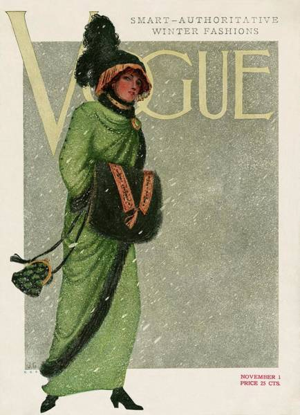 Snow Photograph - A Vintage Vogue Magazine Cover Of A Woman by Artist Unknown