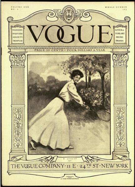 Playing Photograph - A Vintage Vogue Cover Woman Playing Tennis by C F Freeman