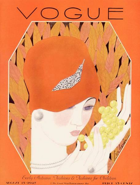 Fruits Photograph - A Vintage Vogue Magazine Cover Of A Woman Eating by Georges Lepape