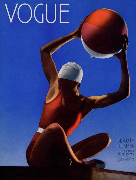 Retro Photograph - A Vintage Vogue Magazine Cover Of A Woman by Edward Steichen