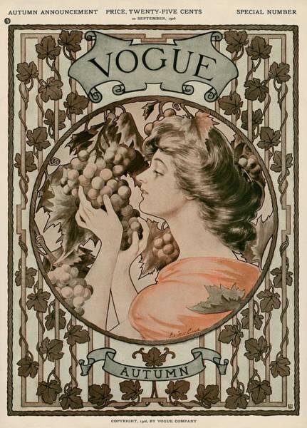 Grape Photograph - A Vintage Vogue Magazine Cover Of A Woman by Hugh Stuart Campbell