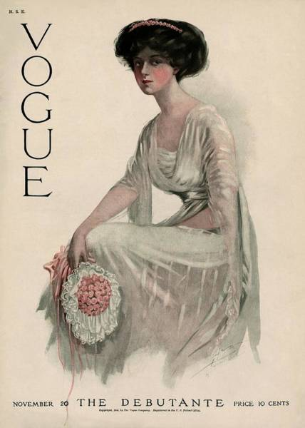 Flower Photograph - A Vintage Vogue Magazine Cover Of A Woman by Jean Parke