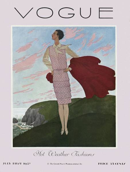 Wind Photograph - A Vintage Vogue Magazine Cover Of A Woman by Pierre Brissaud