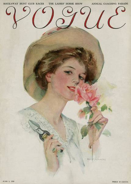 Vintage Vogue Cover Of A Woman Gardening Art Print
