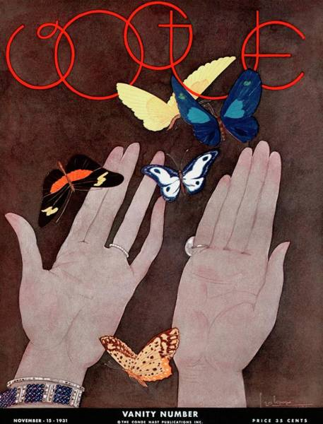 Body Part Photograph - A Vintage Vogue Magazine Cover Of Butterflies by Georges Lepape
