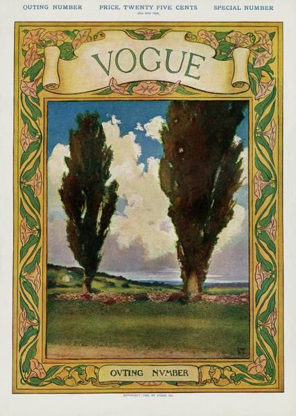 Countryside Photograph - A Vintage Vogue Magazine Cover Of Two Trees by Artist Unknown