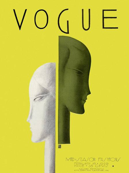 Yellow Background Photograph - A Vintage Vogue Magazine Cover Of Two Woman by Eduardo Garcia Benito