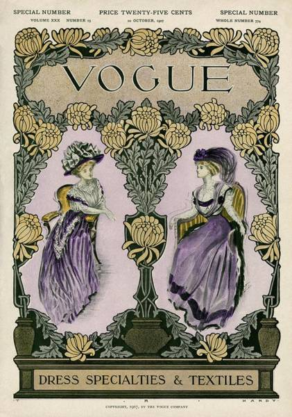 Plant Photograph - A Vintage Vogue Magazine Cover Of Two Women by Jean Parke