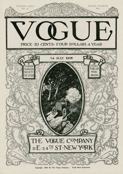 Auto Photograph - A Vintage Vogue Magazine Cover With A Car by David Peirson