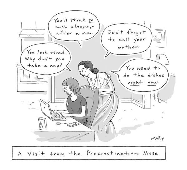 Wall Art - Drawing - A Visit From The Procrastination Muse -- A Greek by Kim Warp