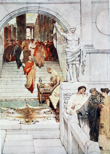 Skin Drawing - A Visit Of Agrippa To Augustus by Sir Lawrence Alma-Tadema