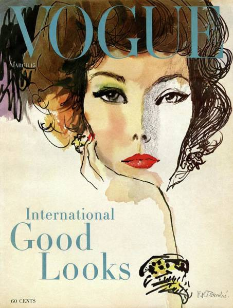 Retro Photograph - A Vogue Cover Illustration Of Nina De Voe by Rene R Bouche
